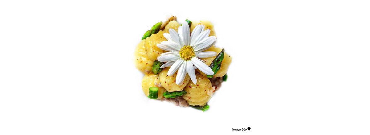 Gnocchi di patate con asparagi, salsiccia e polvere di peperoncino TuttoCalabria